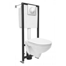 Комплект DELFI + сиденье термопласт микролифт + инсталляция BLACK + кнопка хром глянцевый