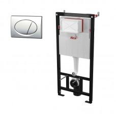 Инсталляция для унитаза Alca Plast 3в1, кнопка смыва хром