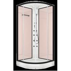 Душевая кабина DOMANI-Spa Delight 110 , низкий поддон, стенки Pink cappuccino, профиль Graphite, кнопочный блок управления, вертикальный гидромассаж, размер 100*100*218см