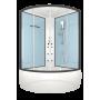 Душевая кабина DOMANI-Spa Vitality high, высокий поддон, стенки Dusty blue, профиль Graphite, кнопочный блок управления, вертикальный гидромассаж, размер 120*120*219см