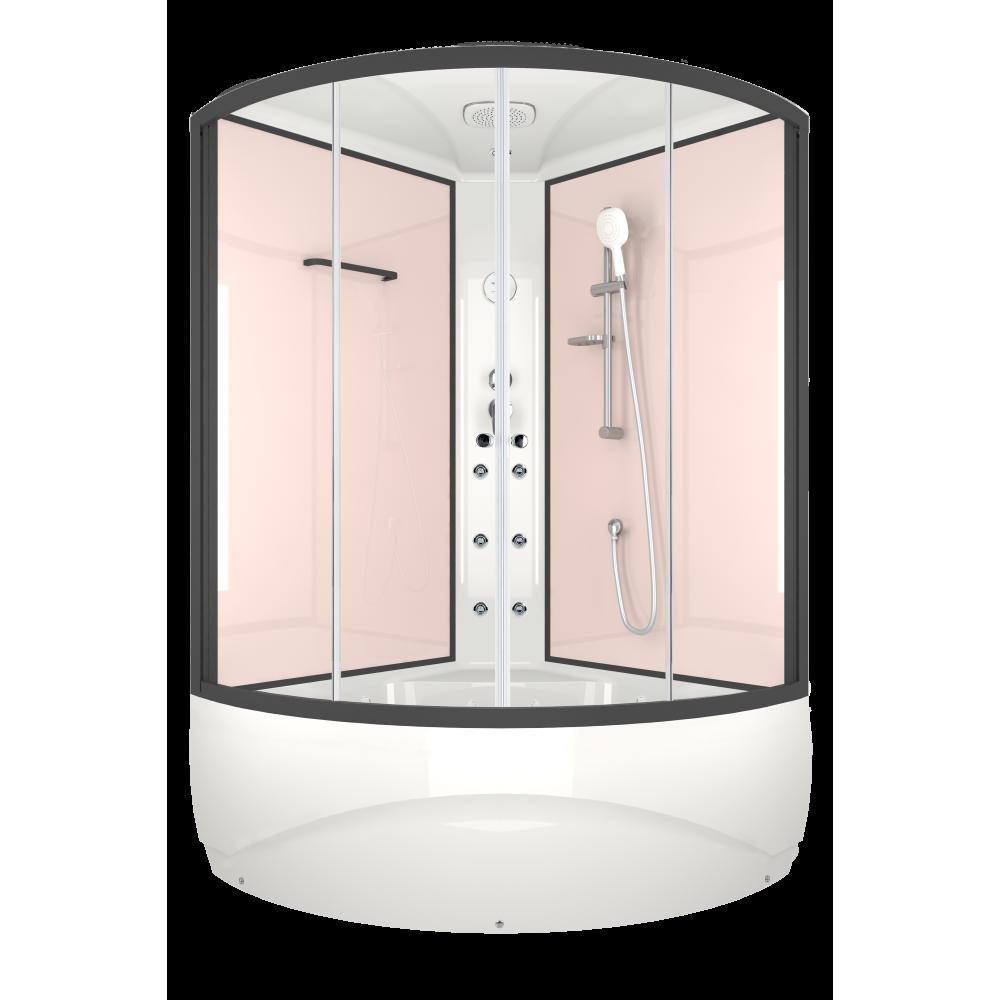 Душевая кабина DOMANI-Spa Vitality high, высокий поддон, стенки Pink cappuccino, профиль Graphite, размер 120*120*219см