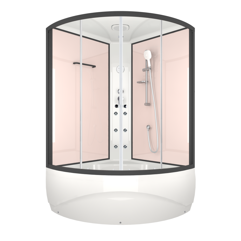 Душевая кабина DOMANI-Spa Vitality high, высокий поддон, стенки Pink cappuccino, профиль Graphite, кнопочный блок управления, вертикальный гидромассаж, размер 120*120*219см