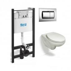 Комплект инсталляции (4 в 1) Roca Victoria (унитаз с крышкой+инсталляция+кнопка) Roca