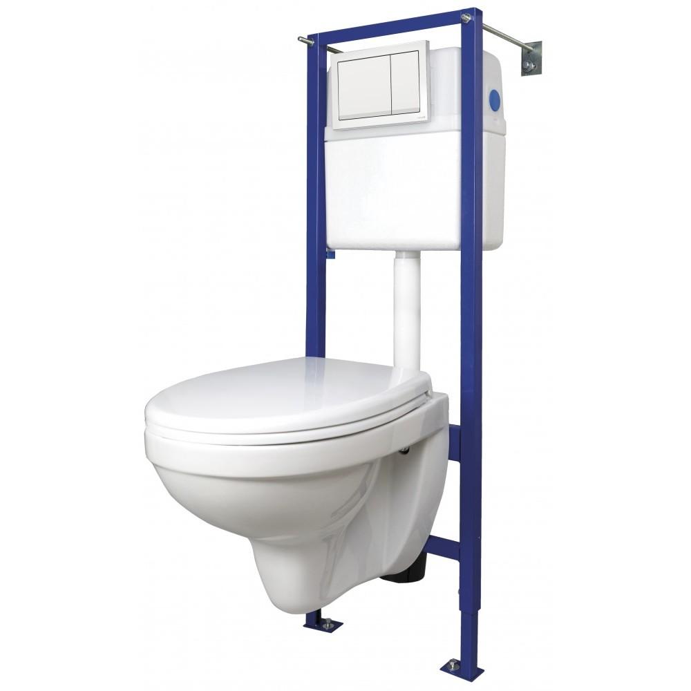 Комплект DELFI (сиденье т/п lift+инсталляция VECTOR с кнопкой ENTER пластик белый)